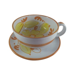Oversized Italian Yellow Floral Cup & Saucer