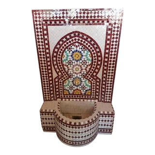 Brick Red Moroccan Mosaic Fountain