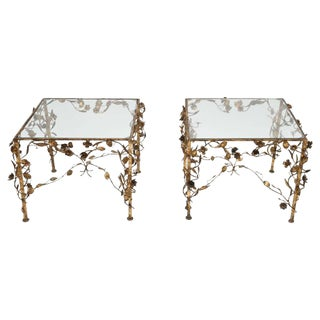 Hollywood Regency Gold and Glass Side Tables, 1950s, USA