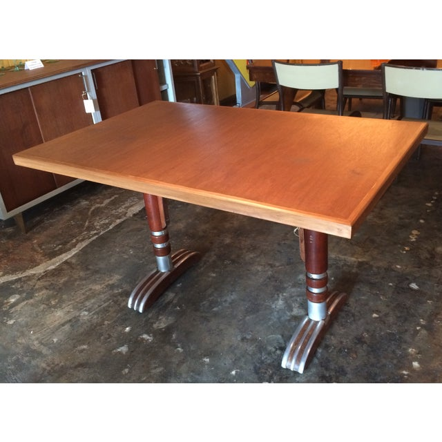Vintage French Art Deco Bistro Dining Table - Image 2 of 8