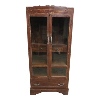 Antique Primitive Architectural Salvage Hutch Door China Cabinet Cupboard H