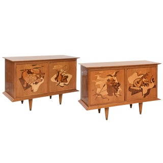 Fine Pair of Walnut and Inlaid Wood Two-Door Credenza, Luigi Scremin