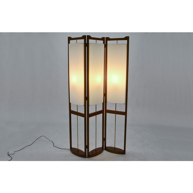 Three Panel Walnut Folding Lamp Room Divider - Image 7 of 7