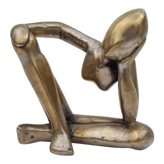 Vintage Silver Bronze Abstract Man Table Sculpture .