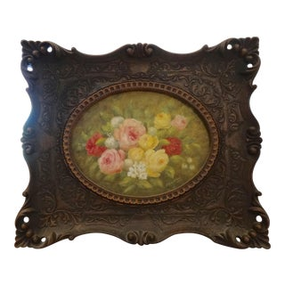Oval Rose Floral Painting with Ornate Wood Frame