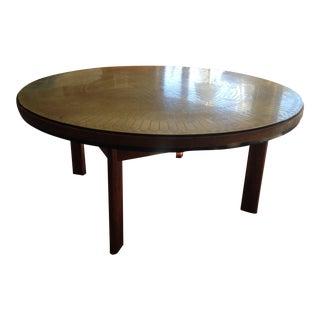 Italian Custom Made Brass & Wood Coffee Table