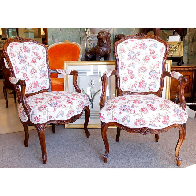 18th Century French Provincial French Louis XV Fauteuil Arm Chairs - a Pair - Image 2 of 10
