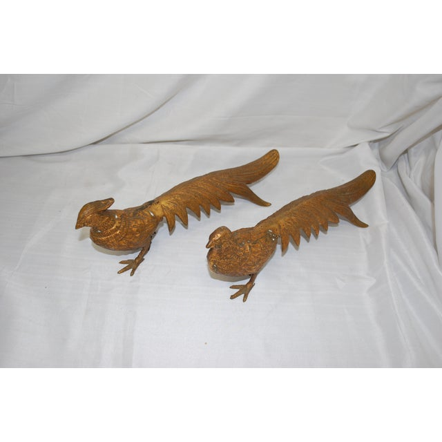 Mid-Century 1950s Brass Pheasants - A Pair - Image 3 of 3