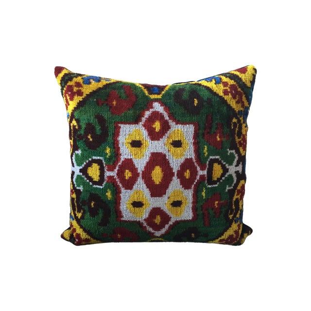 Vintage Multi-Colored Silk Velvet Ikat Pillow - Image 1 of 3