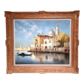 Late 19th Century Venice Oil Painting in Gilt Frame Signed Robert Vallin