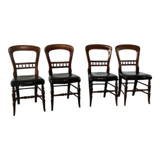 Antique Victorian Hairpin Back Dining Chairs- Set of 4