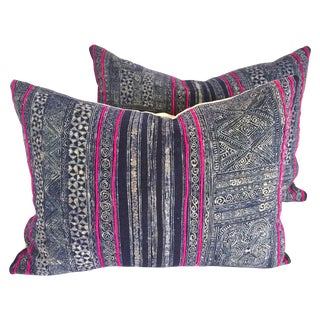 Vintage Hmong Indigo Batik Pillows - Pair