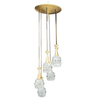 Mid Century Modern 6 Light Heavy Bronze Dropping Flower Chandelier Circa 1960s