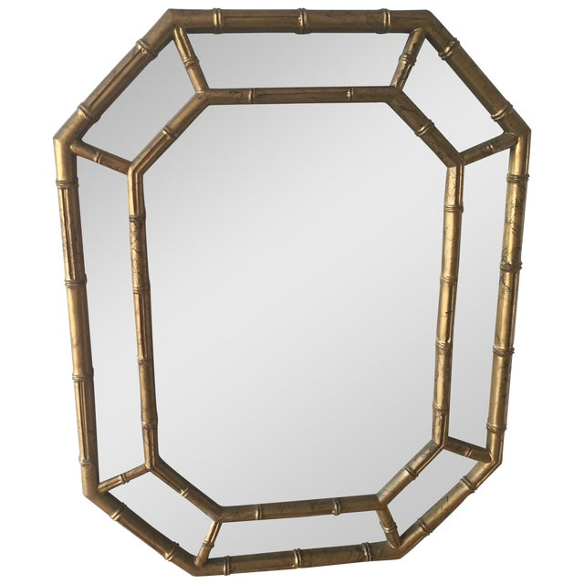 Hollywood Regency Faux Bamboo Octagon Mirror - Image 1 of 5