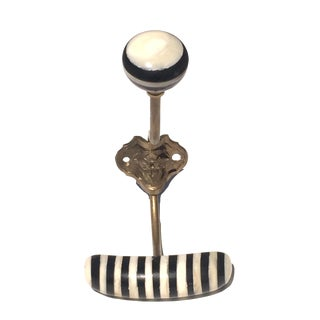 Dramatic Black & White Bone Coat Hook