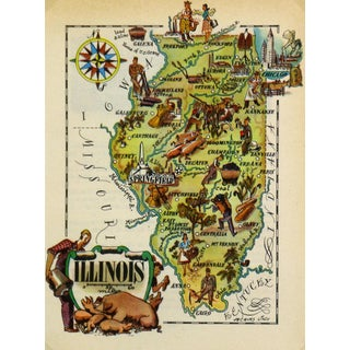 Vintage Illinois Pictorial Map, 1946