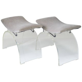 1960's Clear Lucite Curved Benches - A Pair