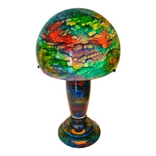 Art Nouveau Jean Noel Bouillet French Art Glass Reverse Painted Blue & Green Mushroom Shade Table Lamp