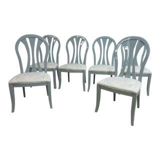 Vintage Lacquer Gunmetal Gray Century Furniture Dining Room Chairs - Set of 6