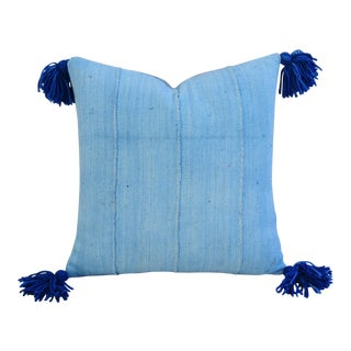 Custom Pale Blue & Blue Tasseled Feather/Down Pillow