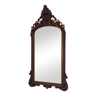 Elaborately Carved Solid Walnut Pier Mirror
