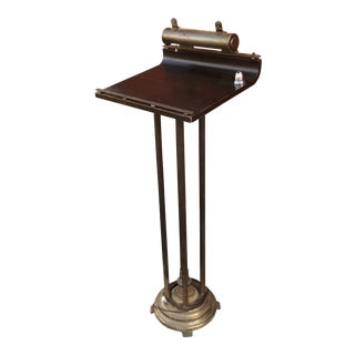 Art Deco Lighted Brass & Wood Podium