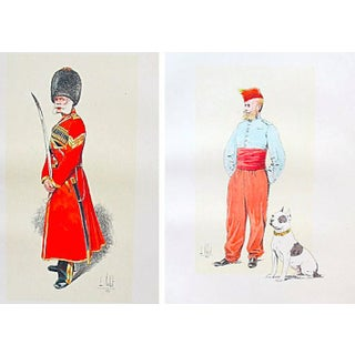 French Cavalrymen with Dogs - A Pair