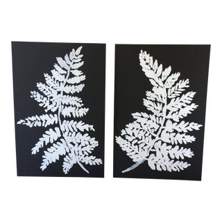 White Ferns on Black Prints - A Pair