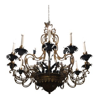 Vintage French Style 12 Light Iron Chandelier