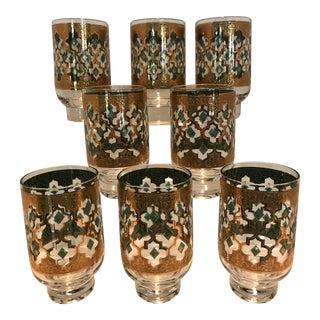 Culver Valencia 22k Gold & Green Pedestal Highball Glasses - Set of 8