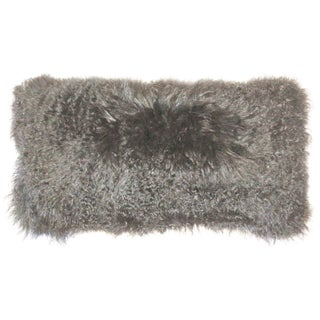 Mongolian Sheepskin Gray Rectangular Pillow