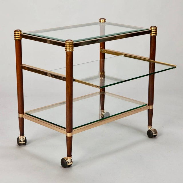 Mid-Century Italian Brass Glass and Polished Wood Trolley Table or Bar Cart - Image 2 of 8