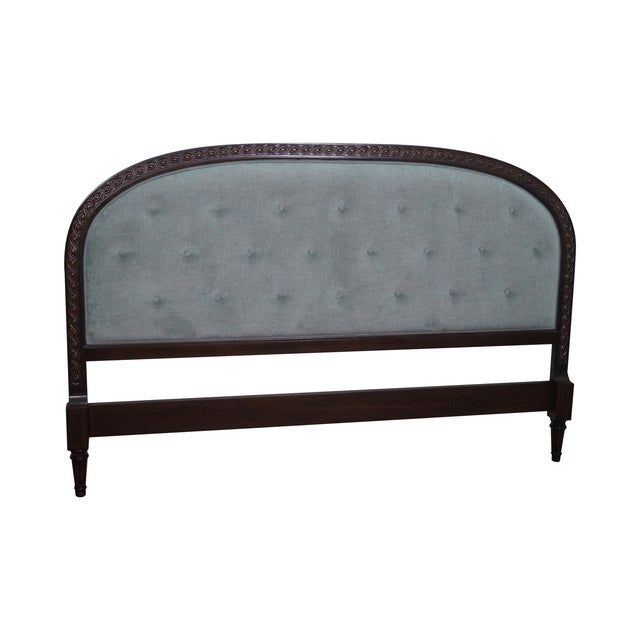 French Louis XVI Tufted Upholstered King Headboard - Image 1 of 10