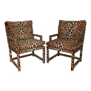 Milo Baughman Style Vintage Leopard Parsons Chairs - A Pair