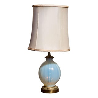 Round MCM Low Pale Blue Glass Lamp