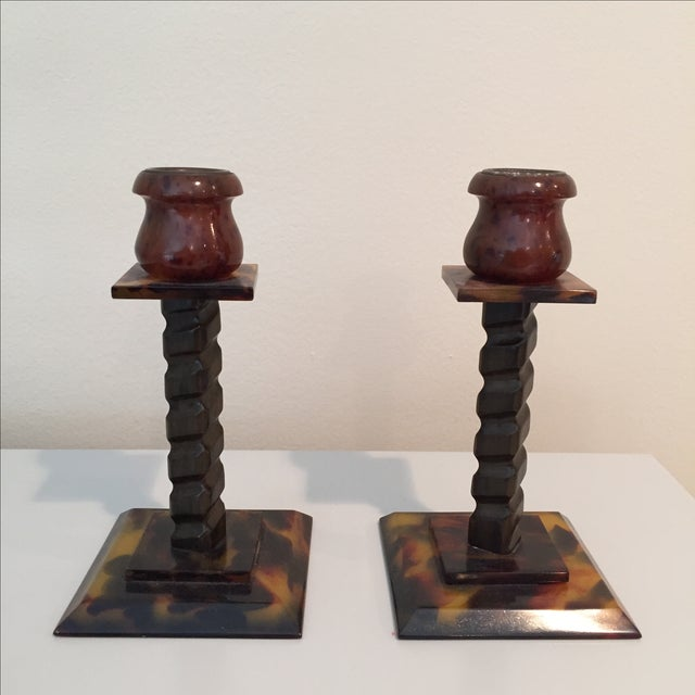 Tortoise Shell Candlesticks- a Pair - Image 2 of 6