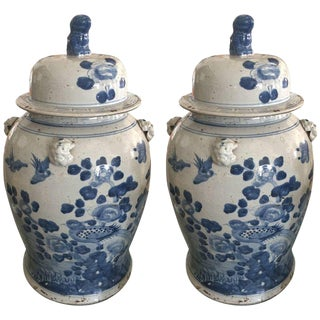Chinese Blue & White Lidded Urns - A Pair