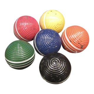 Colorful Vintage Croquet Balls - Set of 6