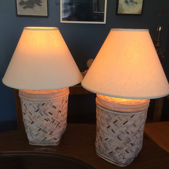 Rattan Basket Lamps With Brass Accents - a Pair - Image 2 of 7