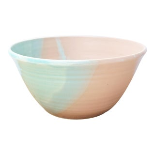 Pink, Blue, & Green Abstract Pattern Studio Pottery Bowl