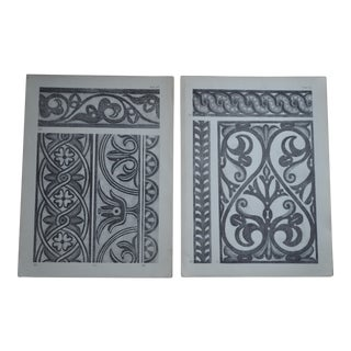 1906 English Photo-Tints, Charcoal Rubbings of Woodcarving - a Pair