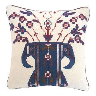 Jonathan Adler Style Vintage Chinoiserie Geometric Vase Needlepoint Pillow