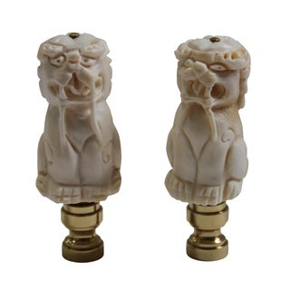 Foo Dog Lamp Finials - A Pair