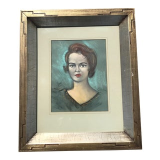 Vintage Chalk Pastels Female Portrait Drawing