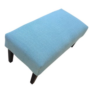 Modern Retro Turquoise Upholstered Bench
