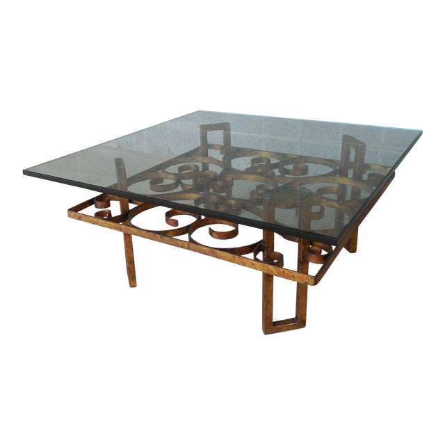 Vintage hollywood regency wrought iron design base glass for Wrought iron cocktail table bases