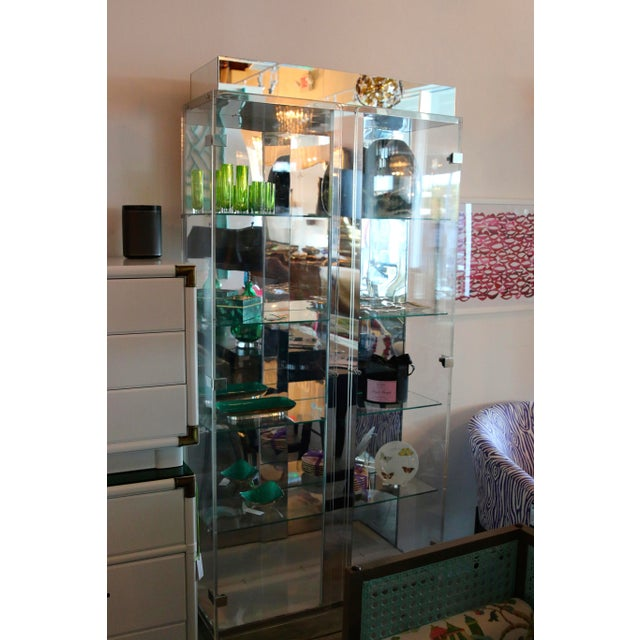 Image of Tall Lucite Glass, Mirror and Chrome Cabinet with Upper and Lower Lighting