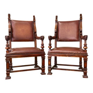 Theodore Alexander Leather Throne Chairs - A Pair
