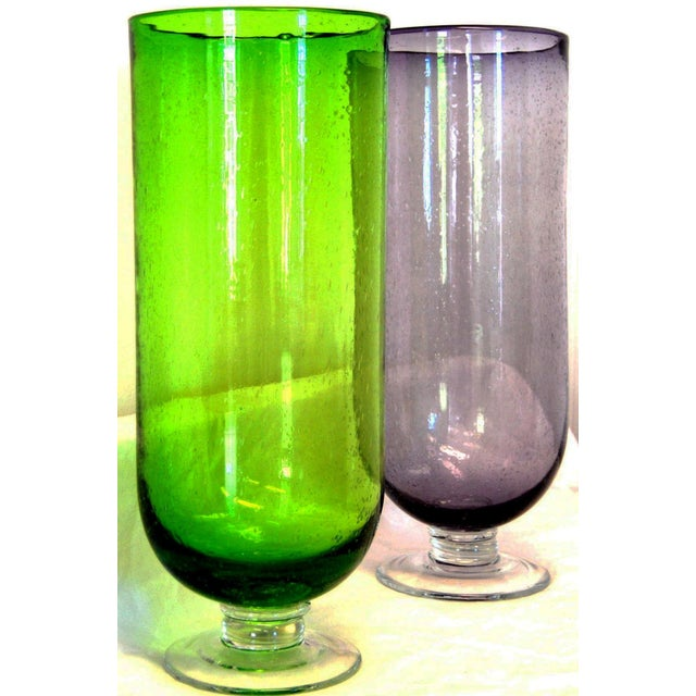 Footed Base Glass Vases - A Pair - Image 3 of 4