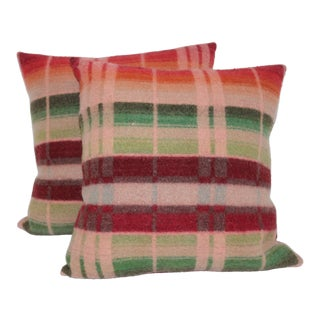 Vintage Striped Horse Blanket Pillows - A Pair